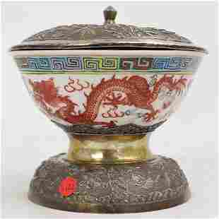 Chinese Porcelain and Silver Bowl