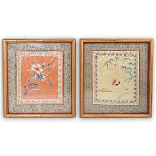 Pair Of Silk Chinese Embroiderys
