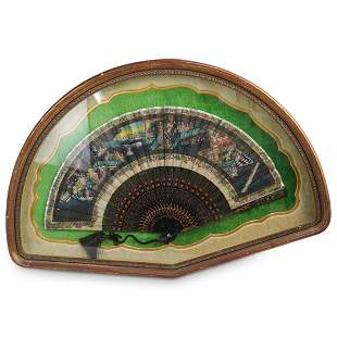 Chinese Hand Painted Framed Fan