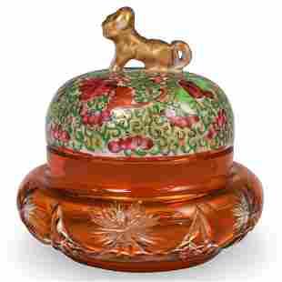 Oriental Ceramic & Amber Glass Box