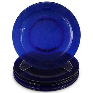 (6 Pc) Cobalt Blue Glass Plates