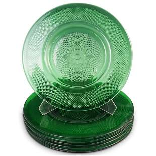 (7 Pc) Green Depression Glass Plates