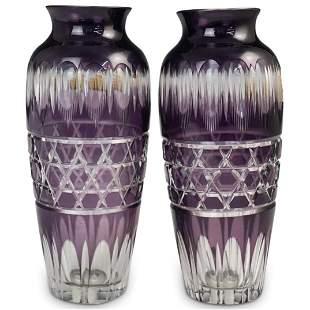 (2 Pc) Bohemian Glass Vases