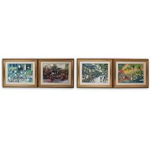 (4 Pc) Signed Oil On Canvas Paintings