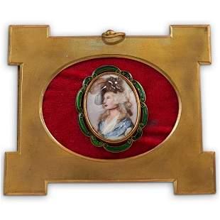 19 Cent. French Miniature Portrait Porcelain Plaque