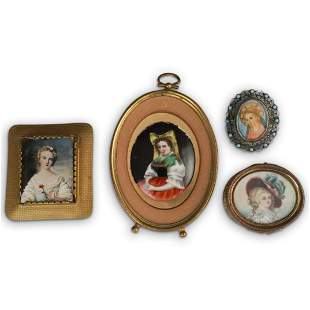 (4 Pc) Hand Painted Plaques, Brooch and Pill Box Set