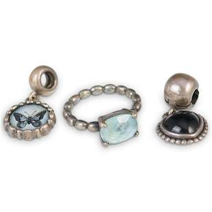 (3 Pc) Pandora Sterling charms and Ring