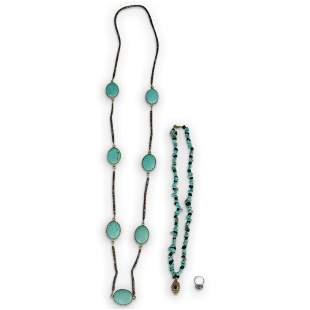 (3 Pc) Two Turquoise Necklaces & Silver/Turquoise Ring