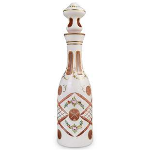 Bohemian Hand Painted Glass Decanter