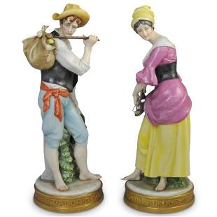 (2 Pc) Capodimonte Fruit Harvesters Figurines