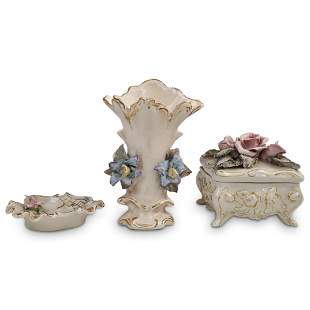 (3 Pc) Corday Porcelain Table Articles