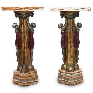 P. Seca Art Deco Bronze and Marble Pedestals