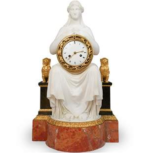 Important 19th Cent Empire Gilt Bronze and Ochre Marble