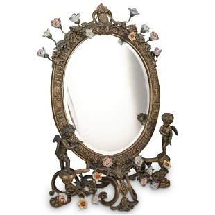Bronze Floral & Cherub Vanity Mirror