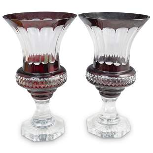 Pair of Cranberry Crystal Cut Vases