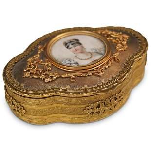 French Dore Bronze and Porcelain Portrait Box