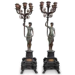 Pair Of Cast Bronze Floor Torchieres