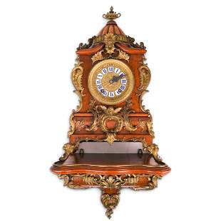 Lenzkirch Wood and Bronze Clock with Wall Console