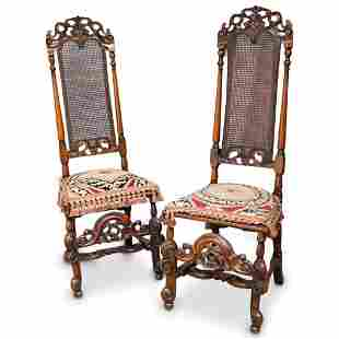 Renaissance Revival Carved Wood High Back Chairs