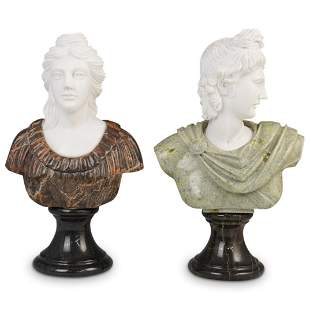 Pair Of Greco Roman Marble Busts