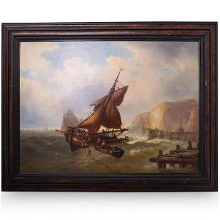 "Mauritz Hendrick de Haas ""Ship in Peril"" Oil On Canvas"