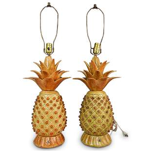 Pair of Large Ceramic Pineapple Table Lamps