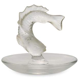 """Lalique """"Leaping Fish"""" Crystal Pin Tray"""