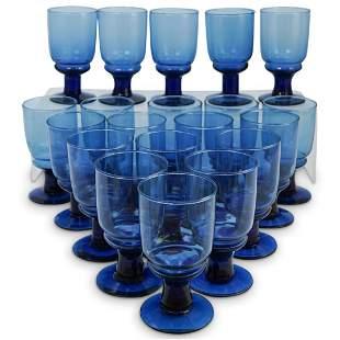 (20 Pc) Blue Murano Glass Goblet Set