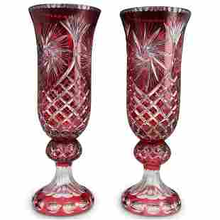 Pair Of Ruby Red Crystal Cut Vases