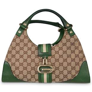 Gucci Canvas and Leather Handbag