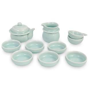 (10 Pc) Chinese Glazed Ceramic Longquan Celadon Tea Set