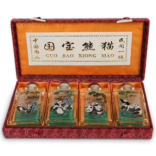 (4 Pc) Set of Hand Painted Glass Snuff Bottles