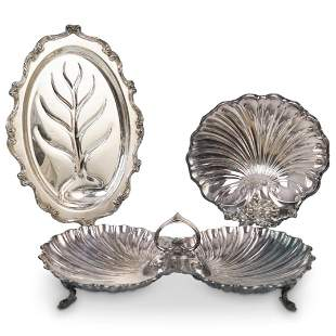 (3Pc) Ornate Silverplate Serving Dishes