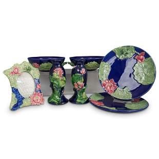 (7 Pc) Majolica Frog Porcelain Set