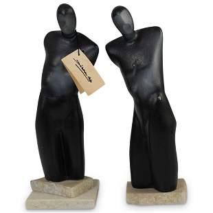 (2 Pc) Male Bust Sculpture Set