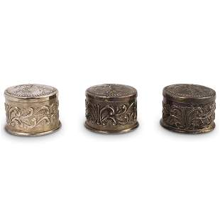 (3 Pc) Silver Ornate Small Memento Box Set