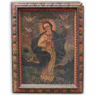 Antique Spanish Colonial Painting of the Virgin of