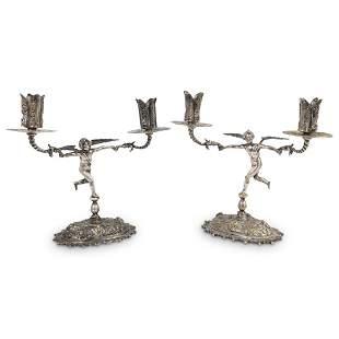 Antique Silver Bronze Cherub Torchlights Candelabras