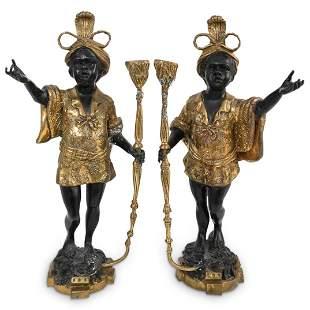 Pair of Antique Bronze Blackamoor Candleholders