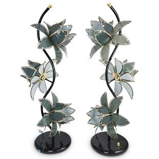 Pair Of Mid Century Glass Flower Lamps
