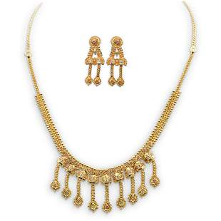 22k Gold Necklace and Earring Set