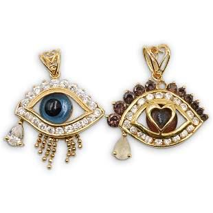 20k Gold and Diamond Evil Eye Pendants