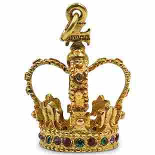 Irish 18k Gold Precious Stone Crown Pendant