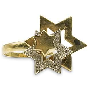 14k Gold Judaica Mechanical Ring