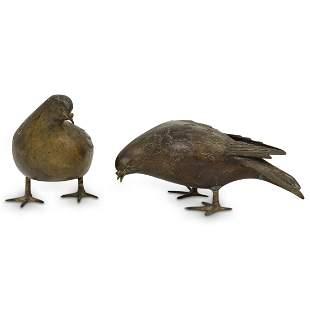 Pair Of Meiji Bronze Pigeons