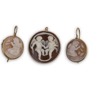 (3 Pc) Gold Plated Cameo Set