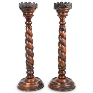 Wood Carved Candle Holders