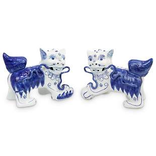 Pair of Blue and White Porcelain Foo Dogs