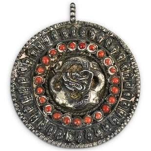 Antique Tibetan Silver and Red Coral Dragon Pendant