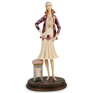 """A. Santini """"Art Deco Lady"""" Porcelain Sculpture"""